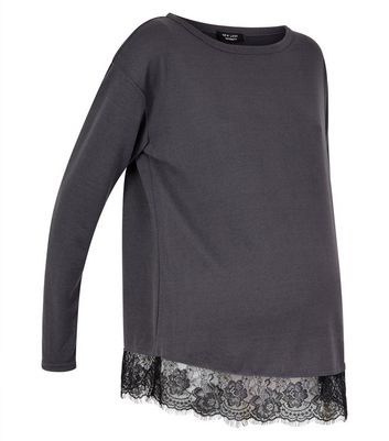 Maternity Dark Grey Lace Hem Top New Look
