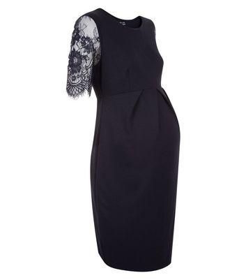 Maternity Black Lace Sleeve Mini Dress New Look