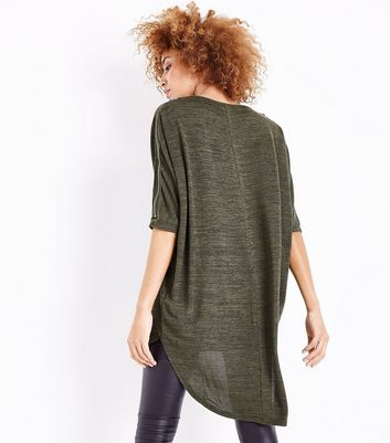 Apricot Khaki Marl Zip Cold Shoulder Tunic Top New Look