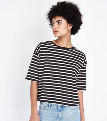 Black Stripe Boxy T-Shirt New Look