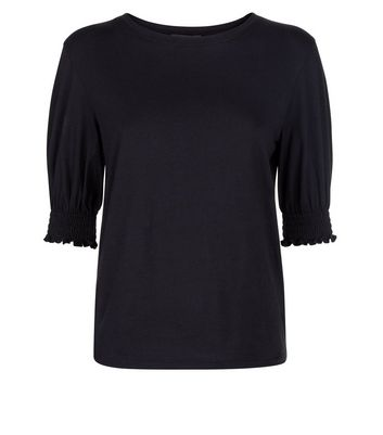 Black Shirred Cuff T-Shirt New Look