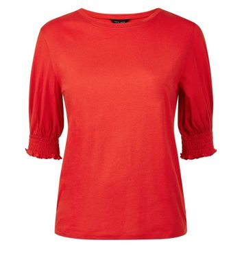 Red Shirred Cuff T-Shirt New Look