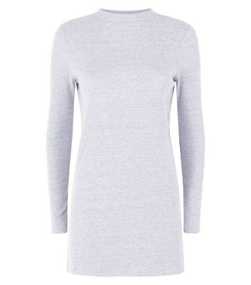 Grey Brushed Ribbed Tunic Top New Look