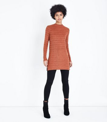 Rust Brushed Ribbed Tunic Top New Look