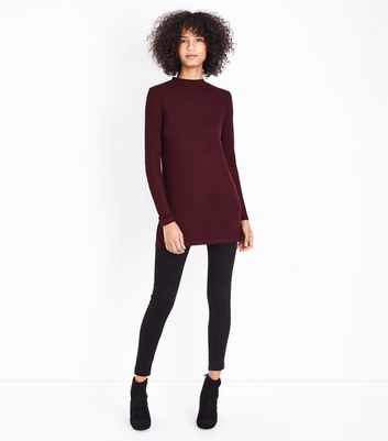 Burgundy Brushed Ribbed Tunic Top New Look