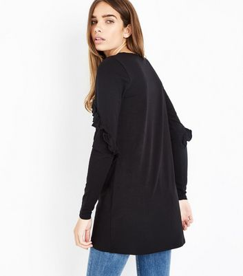 Black Frill Sleeve Tunic Top New Look