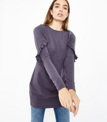 Dark Grey Frill Sleeve Tunic Top New Look