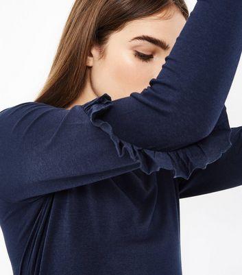 Navy Frill Sleeve Tunic Top New Look