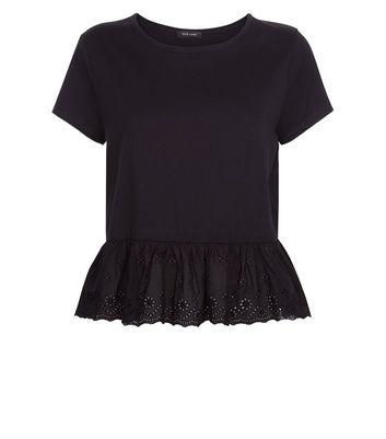 Black Broderie Peplum Hem T-Shirt New Look