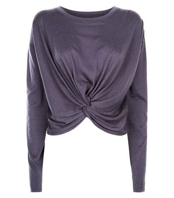 Dark Grey Twist Front Long Sleeve Top New Look