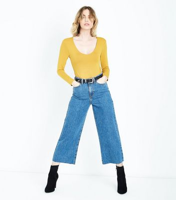 Mustard Yellow V Neck Bodysuit New Look