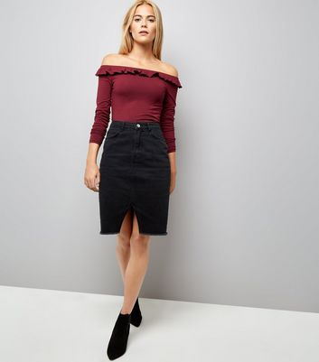 Burgundy Frill Trim Bardot Neck Top New Look