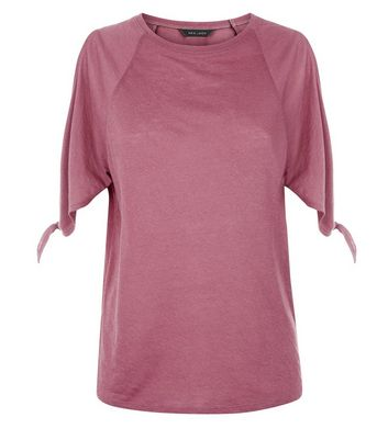 Purple Tie Sleeve Cold Shoulder T-Shirt New Look