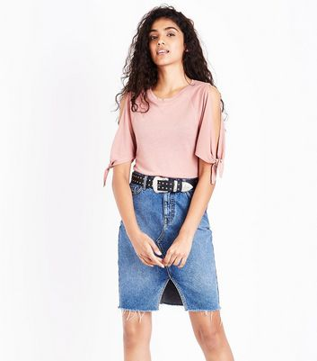 Peach Tie Sleeve Cold Shoulder T-Shirt New Look