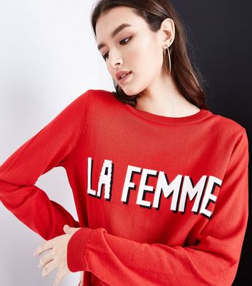 Red La Femme Slogan Jumper New Look
