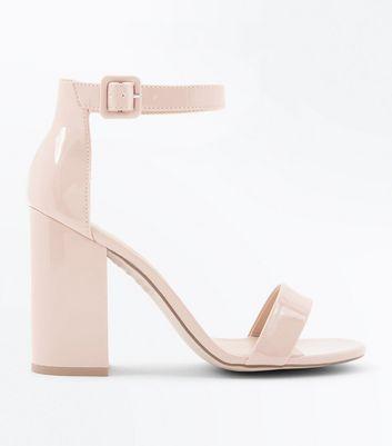 Nude Patent Block Heel Sandals   New Look
