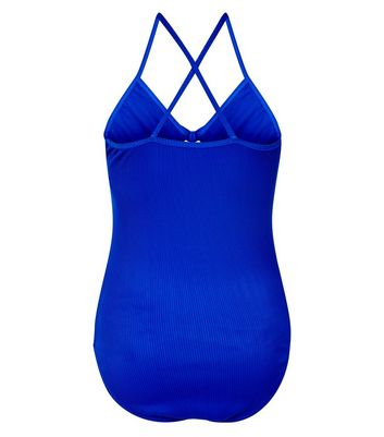 Teens Blue Ribbed Tie Front Swimsuit New Look
