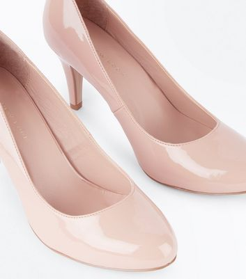 Wide Fit Nude Patent Round Toe Court Shoes New Look