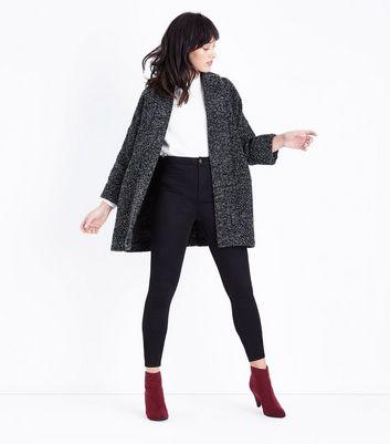 Black Marl Brushed Kimono Jacket New Look