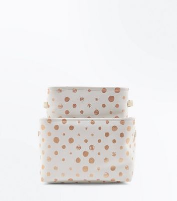 2 Pack White Polka Dot Woven Storage Boxes New Look