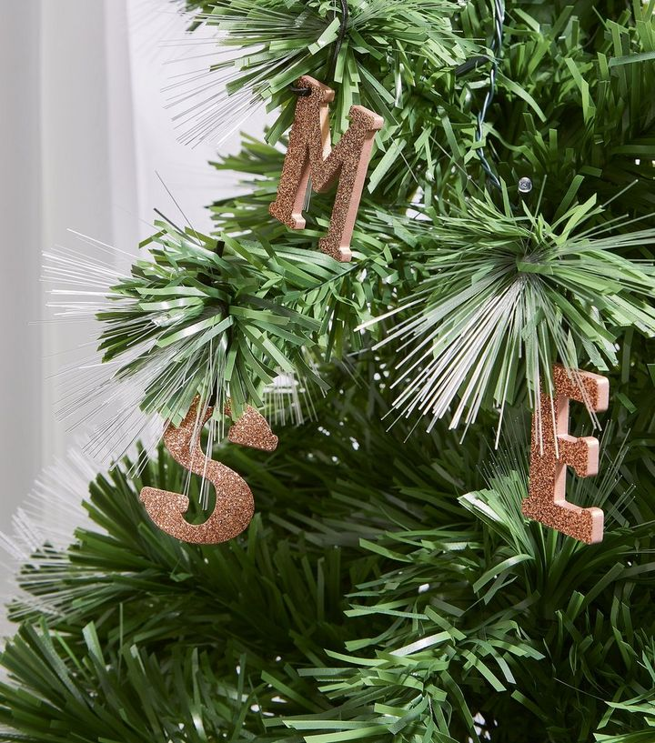 rose gold glitter m initial christmas tree decoration new look