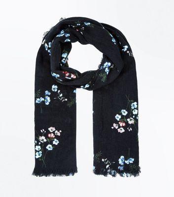 Black Floral Longline Scarf New Look