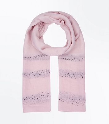 Pink Diamante Stripe Scarf New Look
