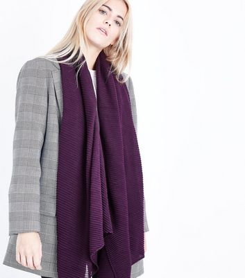 Burgundy Ribbed Scarf New Look