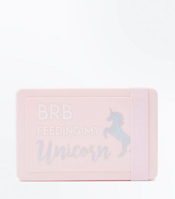Pink Feeding My Unicorn Slogan Lunch Box New Look