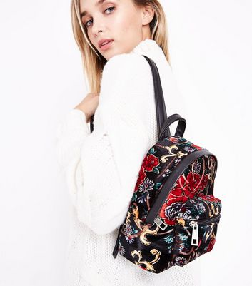 Red Floral Print Velvet Mini Backpack New Look