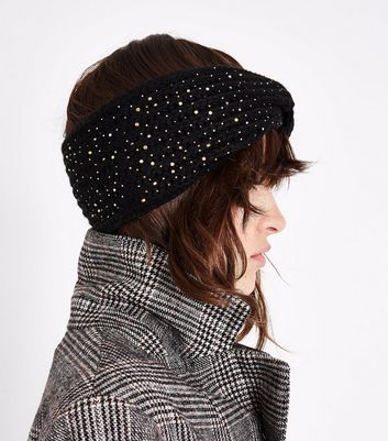 Black Embellished Twist Front Knitted Head Band New Look