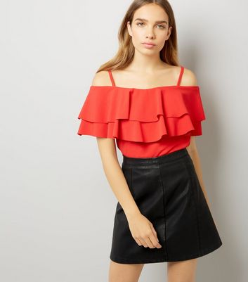 Cameo Rose Red Frill Trim Cold Shoulder Top New Look