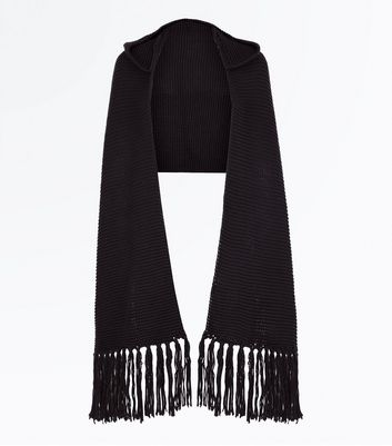 Black Knit Hooded Scarf New Look