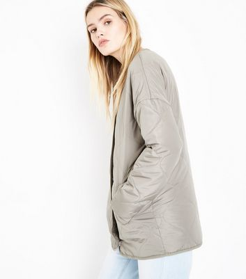 Olive Collarless Quilted Jacket New Look