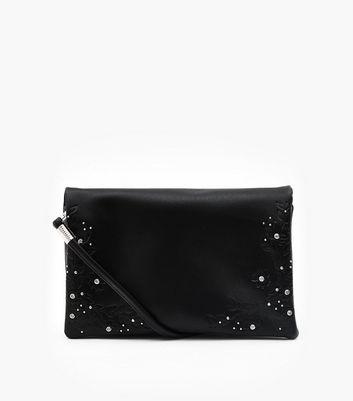 Black Floral Embossed Embellished Clutch Bag New Look