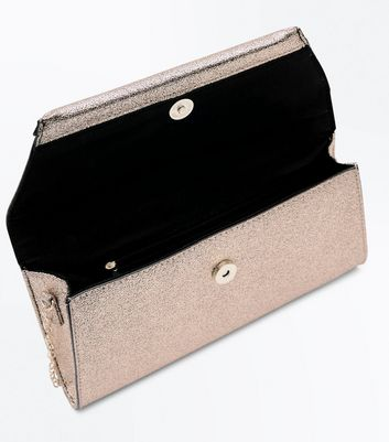 Rose Gold Glitter Envelope Clutch New Look