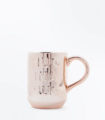 Rose Gold Hug Slogan Mug New Look