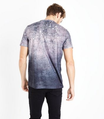 Black Splatter Print T-Shirt New Look