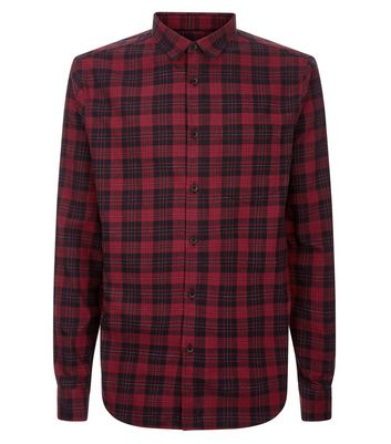 Red Check Collared Shirt New Look