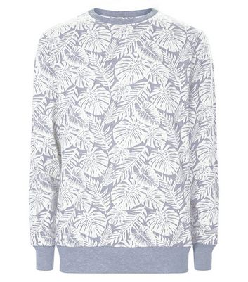 Grey Leaf Print Sweater New Look