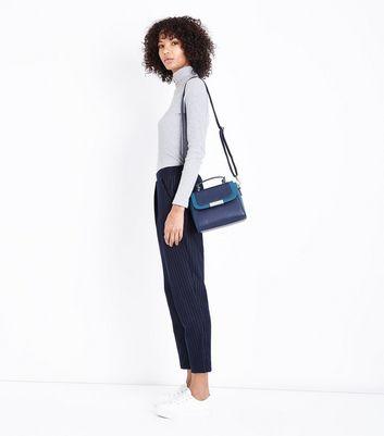 Blue Colour Block Top Handle Bag New Look