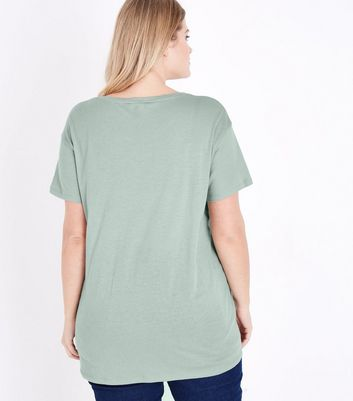 Curves Green Short Sleeve Oversized T-Shirt New Look