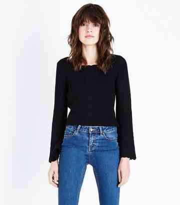 Black Flared Sleeve Scallop Edge Jumper