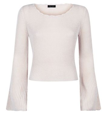 Stone Flared Sleeve Scallop Edge Jumper New Look