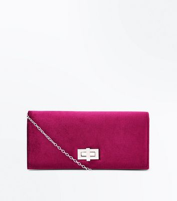Burgundy Velvet Clutch New Look