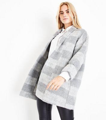 Grey Brushed Check Kimono Coat New Look
