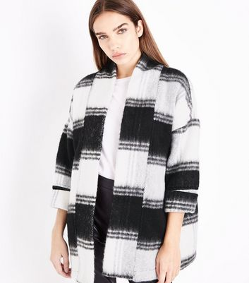 Black Brushed Check Kimono Coat New Look