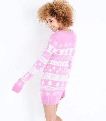 Mela Shell Pink Fairisle Knit Christmas Jumper Dress New Look