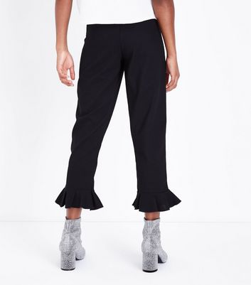 Teens Black Frill Hem Trousers New Look