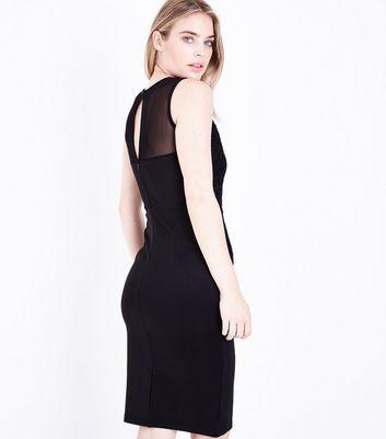 Blue Vanilla Black Floral Applique Bodycon Dress New Look